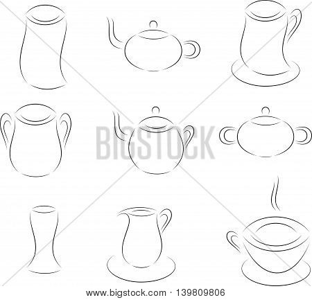 Isolated Black and White Glasses, Plates, Pitchers, Kettles