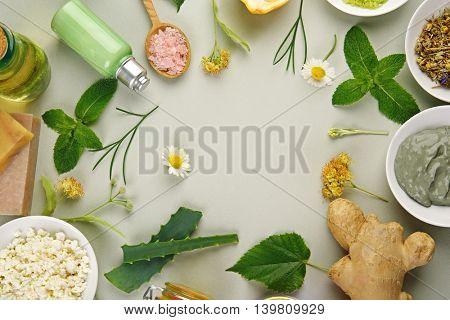 Frame of natural ingredients for skin care on light background