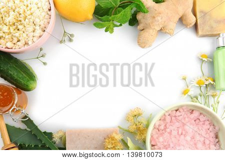 Frame of natural ingredients for skin care on white background