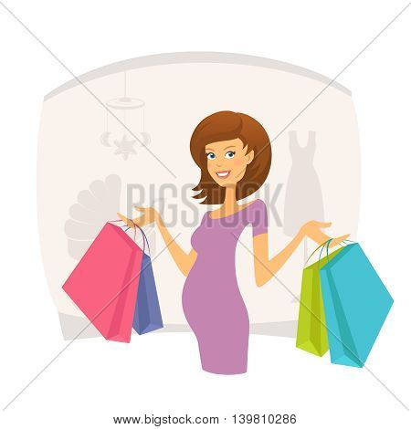 Happy pregnant woman with shopping bags. Editable vector illustration
