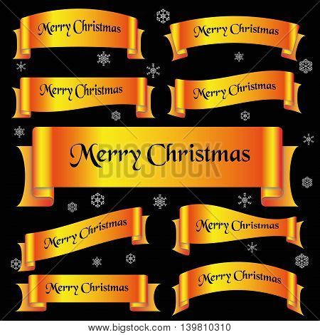 Yellow Shiny Color Merry Christmas Slogan Curved Ribbon Banners Eps10