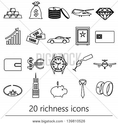 Richness And Money Theme Black Outline Icons Set Eps10