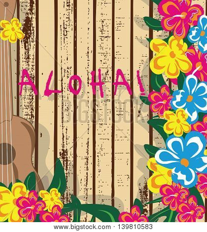 Summer Hawaii Card. Vector guitar and Tropic Flowers on wood texture. Holiday Summer background