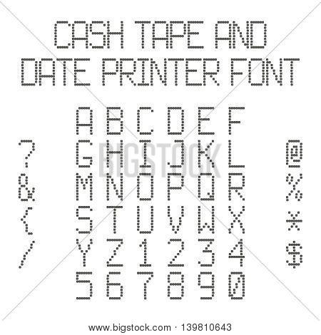 Vector Dotted Alphabet Imitating Data Printer Or Cash Register