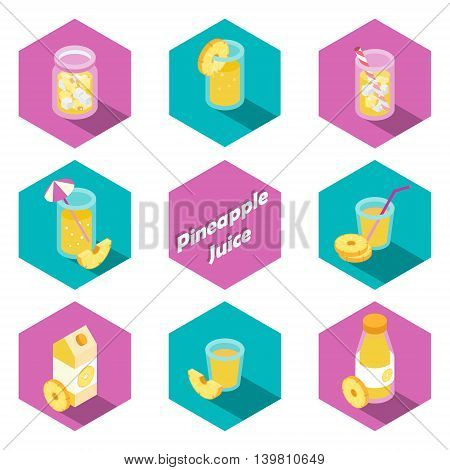 Set of isometric pineapple drinks and beverages icons in flat design