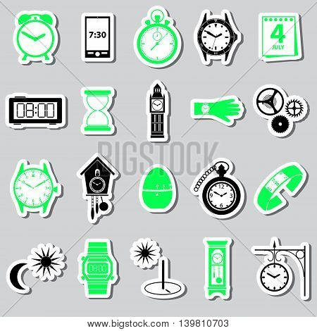 Time Theme Modern Simple Stickers Set Eps10