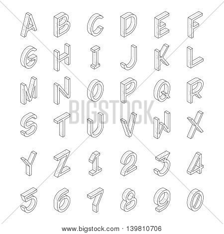 Vector Line Art Transparent Alphabet In Isometric Style.