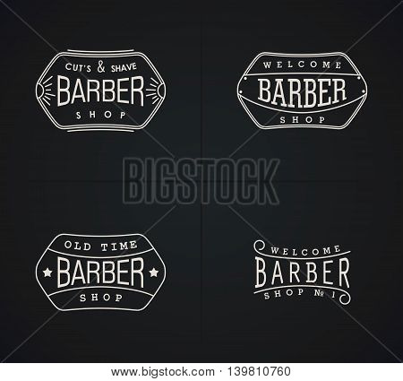 Four vector emblems for Barber Shop in vintage style. Modern linear minimalism. Design for web Logos Stamp Badges Signboard t-shirts uniform and others.