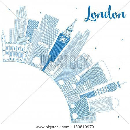 Outline London Skyline with Blue Buildings and Copy Space. Business Travel and Tourism Concept with Modern Buildings. Image for Presentation Banner Placard and Web Site.
