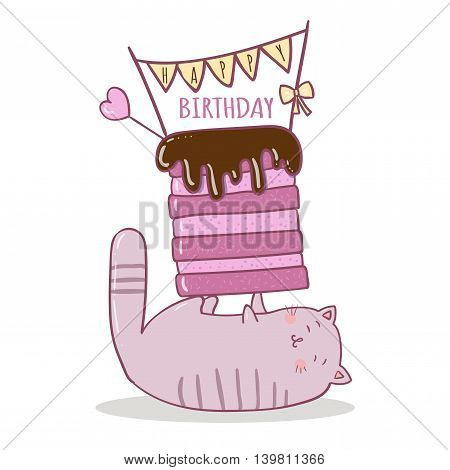Vector illustration of cake and cat. Ideal for party invitations.