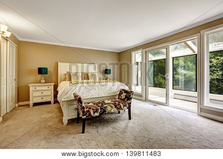 Master Bedroom In American Style With White Double Bed