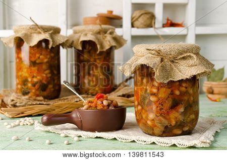 Beans with eggplant. Canned for the winter