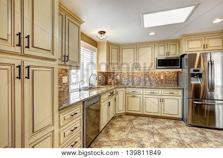 Luxury Kitchen Interior In Light Beige Color