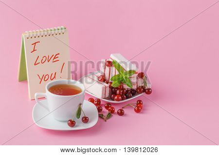 Gentle Romantic Breakfast For His Girlfriend With Cherry Fruit Candy