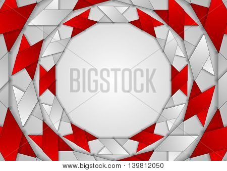 Abstract red grey corporate round pattern. Vector tech design