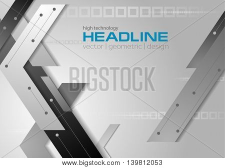Tech geometric grey corporate background. Vector technology design