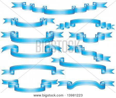 Set of blue ribbons with pearl stripes