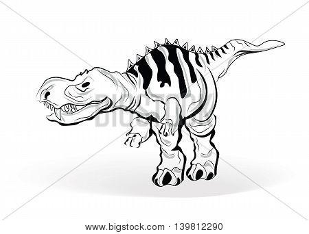Black and white dinosaur sketch. Vector illustration