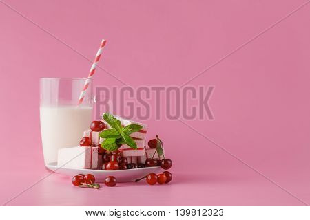 Fresh Milk, Cherry Drink On Pink Table, Assorted Protein Cocktail With Fresh Berries