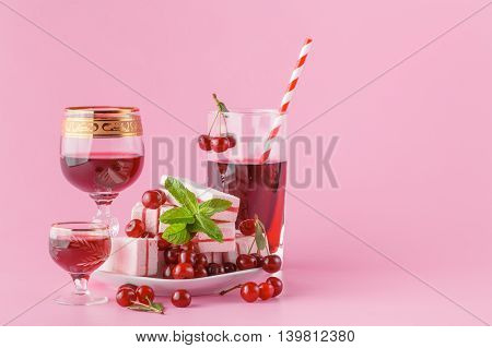 Homemade Cherry Liquor And Juice