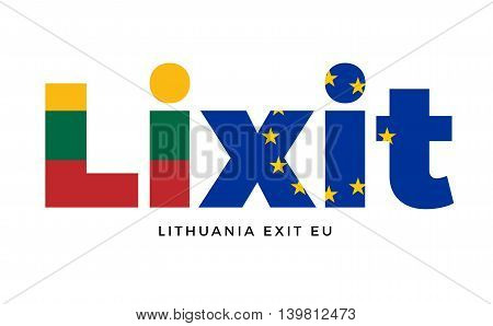 LIXIT - Lithuania exit from European Union on Referendum. Vector Isolated