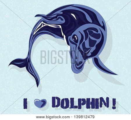 Dolphin Vector watercolor. Cheerful cartoon dolphin picture watercolor vector icon symbol