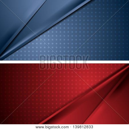 Abstract blue and red soft lines banners. Vector corporate material design backgrounds