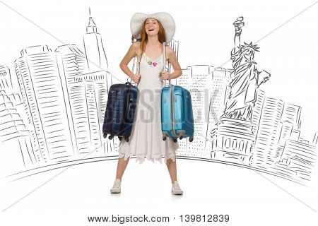 Young woman travelling to USA