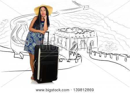 Young woman travelling to China to see Great Wall