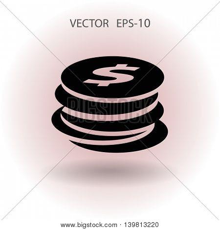 Flat icon of money