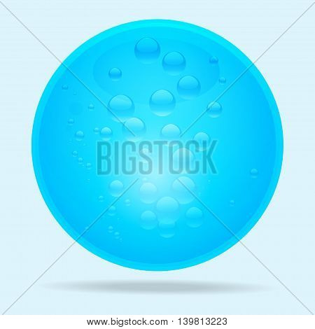 Blue 3D water Bubble with Shadow Over Light Blue Background