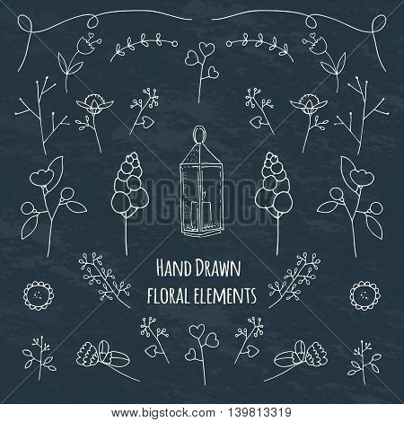 Hands drawn floral elements.Flowers branches leaves wreath - design elements for invitations wedding decorations web design