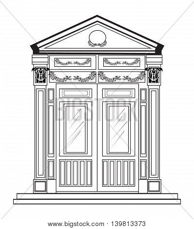 Entrance in classic style. Vector architectural facade. Wire frame drawing of classic building. Vector architectural template background