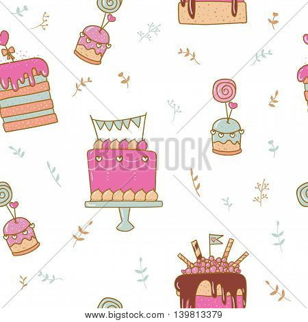 Cute pattern with hand drawing illustration of cake and sweets