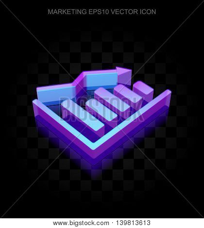 Marketing icon: 3d neon glowing Decline Graph made of glass with transparent shadow on black background, EPS 10 vector illustration.