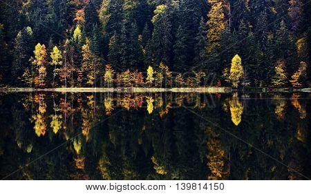 autumn landscape in the mountains - St. Ana's lake, Romania