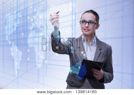 Young bisinesswoman in global business concept