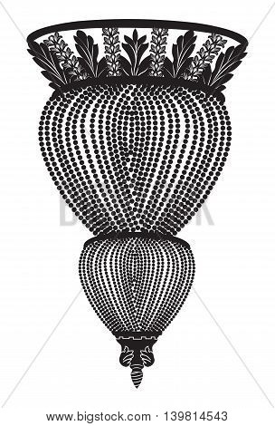 Classic chandelier. Luxury decor accessory design. Vector illustration sketch
