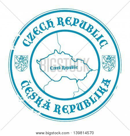 Grunge rubber stamp with the name and map of Czech Republic, vector illustration