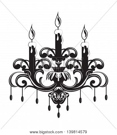 Baroque Elegant Wall lamp with ornaments.Vector Elegant Royal Baroque Style Wall lamp