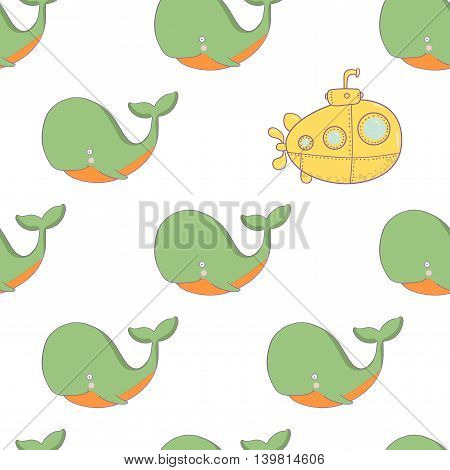 Cute pattern illustration of a whale and submarine.