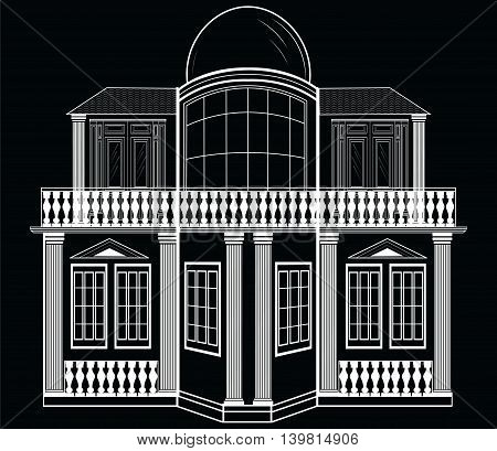 Architectural Facade Vector. Wire frame blueprint drawing of classic building. Vector architectural template background