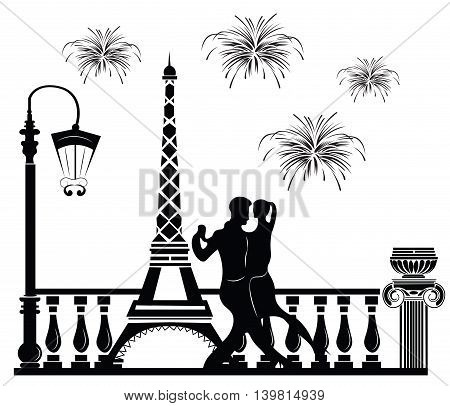 Romantic couple dancing in Paris. Tour Eiffel and fireworks on baclground. Vector sketch