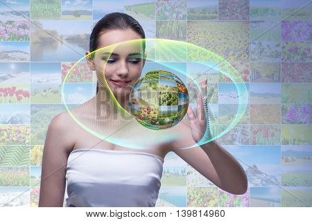 Young woman in abstract concept with nature photos