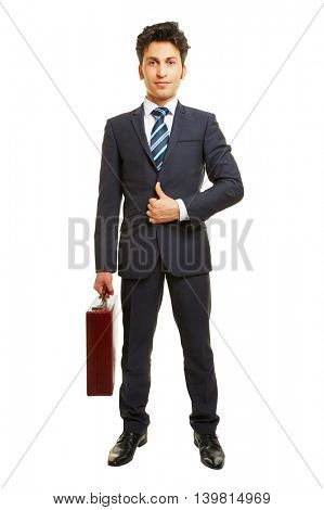Business man in a suit frontal with briefcase isolated on white background