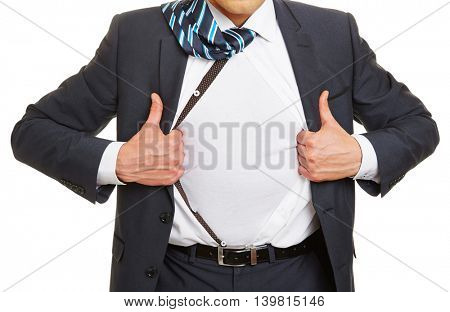 Business man opening his suit and shirt and showing a white t-shirt