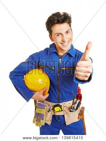 Happy worker with hardhat and tool belt holding his thumbs up