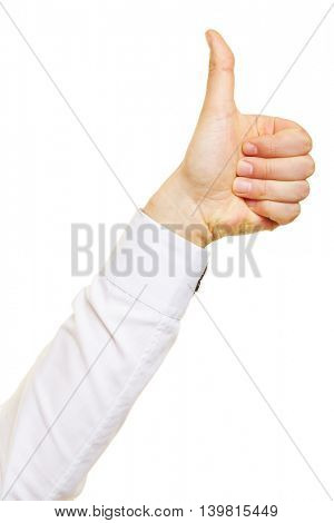 Successful man holding his thumb up in profile