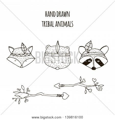 Set of vector hand drawn indian elements: funny animals arrows.