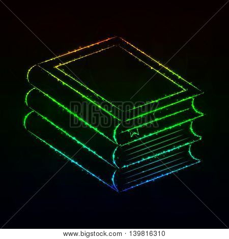 Books Illustration Icon, Gradient Color Lights Silhouette on Dark Background. Glowing Lines and Points